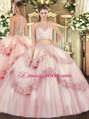 Wonderful Floor Length Baby Pink Sweet 16 Quinceanera Dress Scoop Sleeveless Zipper