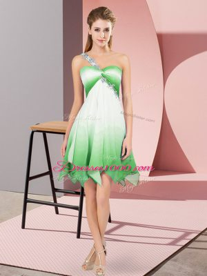 Customized Sleeveless Fading Color Asymmetrical Lace Up Dress for Prom in Multi-color with Beading