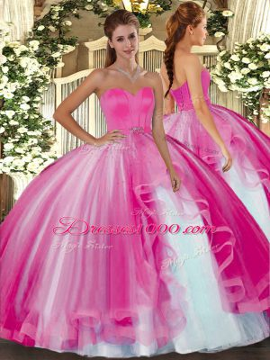 Sleeveless Floor Length Beading Lace Up 15 Quinceanera Dress with Hot Pink