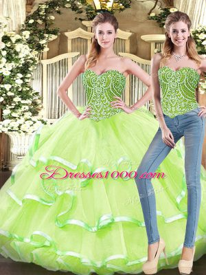 Custom Fit Yellow Green Two Pieces Beading and Ruffled Layers Sweet 16 Dresses Lace Up Organza Sleeveless Floor Length