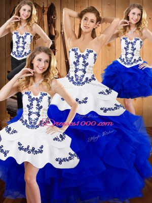 Blue Ball Gowns Strapless Sleeveless Satin and Organza Floor Length Lace Up Embroidery and Ruffles Sweet 16 Dress