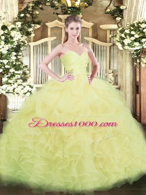 Unique Beading and Ruffles Vestidos de Quinceanera Light Yellow Lace Up Sleeveless Floor Length