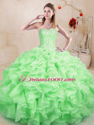 Best Selling Apple Green Sleeveless Beading and Ruffles Floor Length Sweet 16 Dress