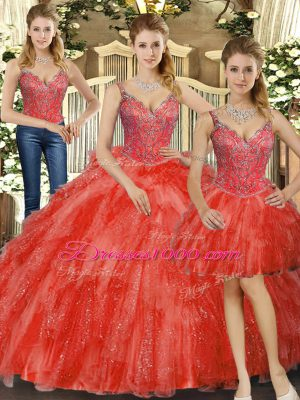 Beautiful Straps Sleeveless Lace Up Sweet 16 Dresses Red Organza