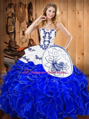 Super Blue And White Strapless Neckline Embroidery and Ruffles Quinceanera Gowns Sleeveless Lace Up