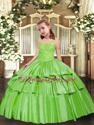 Fantastic Yellow Green Ball Gowns Straps Sleeveless Taffeta Floor Length Lace Up Beading and Ruffled Layers Teens Party Dress