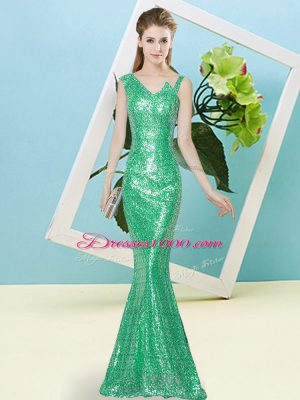 New Style Turquoise Zipper Asymmetric Sequins Sequined Sleeveless