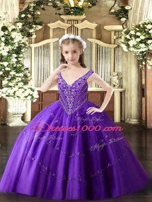 Beading and Appliques Little Girls Pageant Dress Purple Lace Up Sleeveless Floor Length