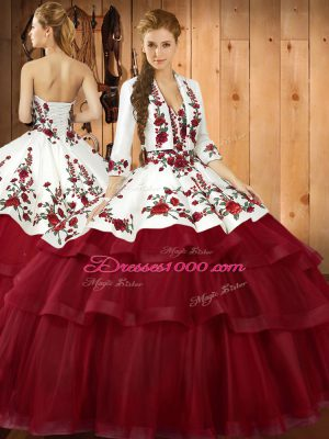 Excellent Sleeveless Embroidery Lace Up 15th Birthday Dress with Wine Red Sweep Train