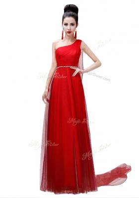 Custom Made One Shoulder Sleeveless Side Zipper Coral Red Chiffon