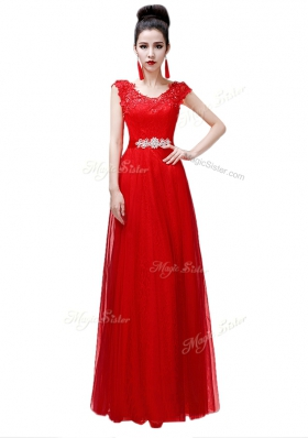 Deluxe Scoop Beading Dress for Prom Coral Red Lace Up Cap Sleeves Floor Length