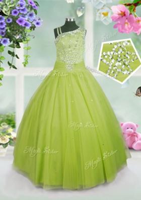 Apple Green Ball Gowns Beading Little Girls Pageant Dress Side Zipper Tulle Sleeveless Floor Length