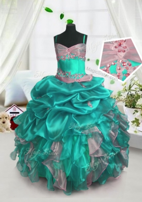 Pick Ups Turquoise Sleeveless Organza Lace Up Kids Formal Wear for Party and Wedding Party