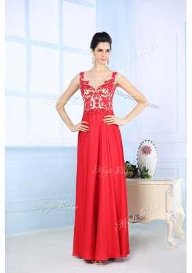 Lovely Coral Red Chiffon Zipper V Neck Sleeveless Floor Length Prom Evening Gown Lace