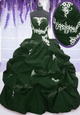 Perfect Sleeveless Floor Length Appliques and Pick Ups Lace Up Quinceanera Dresses with Dark Green and Peacock Green