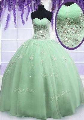 Yellow Green Ball Gowns Beading Quinceanera Dresses Zipper Organza Sleeveless Floor Length