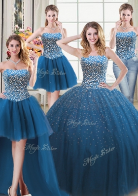 Classical Four Piece Teal Sleeveless Floor Length Beading Lace Up Ball Gown Prom Dress