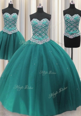 Traditional Three Piece Beading and Sequins Sweet 16 Quinceanera Dress Teal Lace Up Sleeveless Floor Length