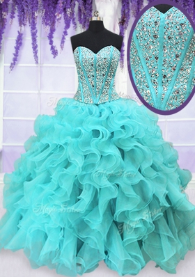 Aqua Blue Organza Lace Up Sweetheart Sleeveless Floor Length Ball Gown Prom Dress Beading and Ruffles