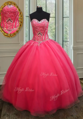 Captivating Floor Length Ball Gowns Sleeveless Coral Red Vestidos de Quinceanera Lace Up