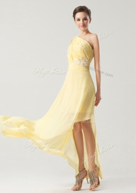 Fantastic One Shoulder Chiffon Sleeveless Asymmetrical Dress for Prom and Beading and Ruching