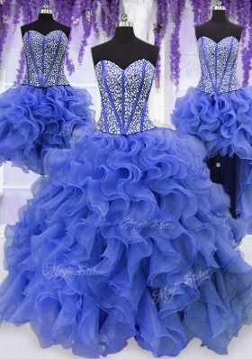 Four Piece Royal Blue Ball Gowns Ruffles and Sequins Quince Ball Gowns Lace Up Organza Sleeveless Floor Length