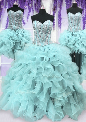 Four Piece Ruffles and Sequins Sweet 16 Dresses Light Blue Lace Up Sleeveless Floor Length