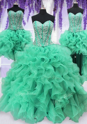 Four Piece Turquoise Organza Lace Up Sweetheart Sleeveless Floor Length 15 Quinceanera Dress Ruffles and Sequins