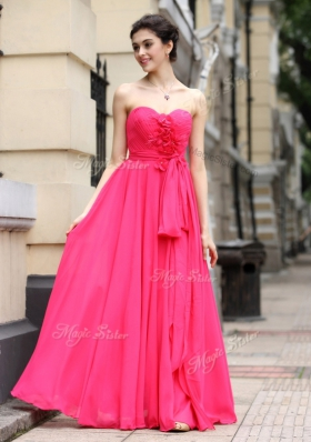 Hot Pink Chiffon Zipper Sweetheart Sleeveless Floor Length Homecoming Dress Sashes|ribbons and Ruching and Hand Made Flower