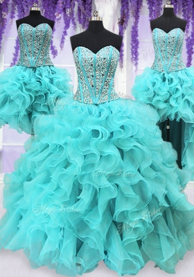 Nice Four Piece Sequins Floor Length Ball Gowns Sleeveless Aqua Blue Quinceanera Gown Lace Up
