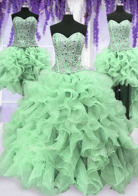 Popular Four Piece Sweetheart Sleeveless Organza Quinceanera Gowns Beading and Ruffles Lace Up