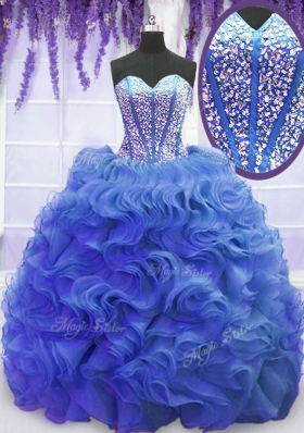 Eye-catching Royal Blue Sweetheart Lace Up Beading and Ruffles Quinceanera Gown Sweep Train Sleeveless