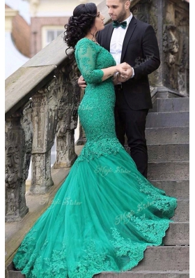Mermaid Green Lace Up Prom Gown Beading and Appliques Long Sleeves With Train Chapel Train