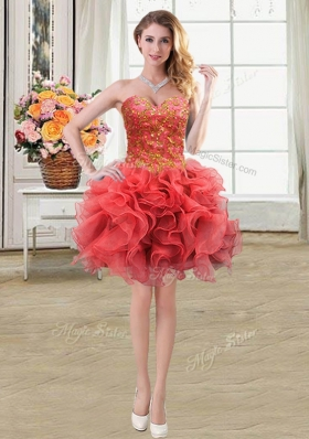 Stylish Coral Red Sleeveless Mini Length Beading and Ruffles Lace Up Glitz Pageant Dress