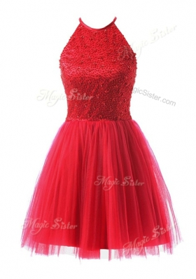 Superior Coral Red Tulle Zipper Scoop Sleeveless Knee Length Prom Evening Gown Beading