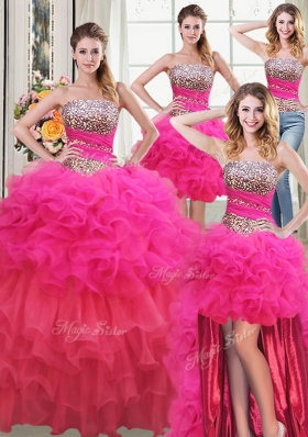 Top Selling Four Piece Organza Sleeveless Floor Length Sweet 16 Dresses and Beading and Ruffles and Ruffled Layers and Sequins