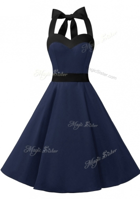 Top Selling Halter Top Sleeveless Dress for Prom Knee Length Sashes|ribbons Navy Blue Chiffon