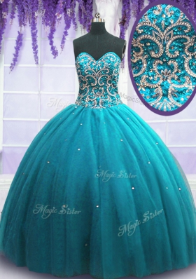 Attractive Tulle Sleeveless Floor Length Sweet 16 Quinceanera Dress and Beading