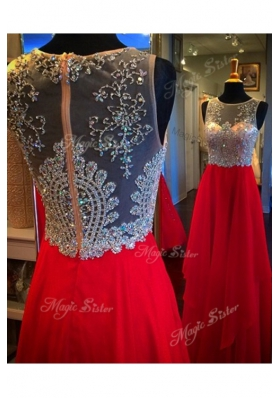 Chiffon Scoop Sleeveless Zipper Beading Homecoming Dress in Red