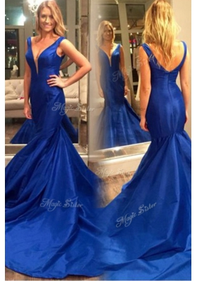 Mermaid Pleated Royal Blue Prom Party Dress V-neck Sleeveless Court Train Zipper