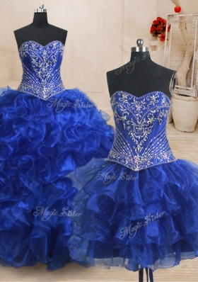 Three Piece Organza Sweetheart Sleeveless Brush Train Lace Up Beading and Ruffles Ball Gown Prom Dress in Royal Blue