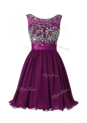 Eye-catching Scoop Sleeveless Prom Gown Knee Length Beading and Sashes|ribbons Purple Chiffon