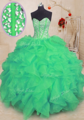 Turquoise Ball Gowns Organza Sweetheart Sleeveless Beading and Ruffles Floor Length Lace Up 15th Birthday Dress