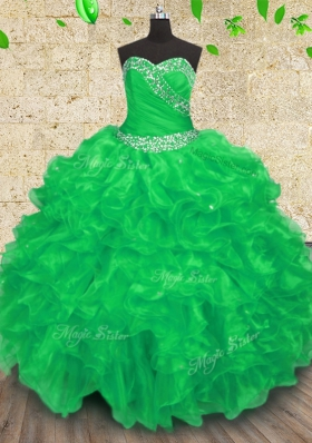 Organza Sweetheart Sleeveless Lace Up Beading and Appliques and Ruffles and Ruching Quince Ball Gowns in Green