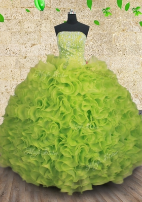 New Arrival Yellow Green Strapless Lace Up Beading and Ruffles 15 Quinceanera Dress Sleeveless