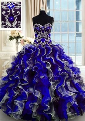 Customized Multi-color Sleeveless Floor Length Beading and Ruffles Lace Up Quinceanera Gown