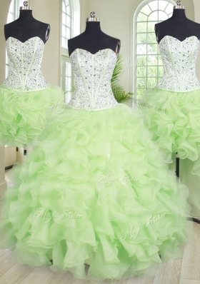 Dazzling Four Piece Sleeveless Floor Length Beading and Ruffles Lace Up Ball Gown Prom Dress with Yellow Green