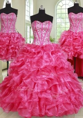 Elegant Four Piece Hot Pink Sleeveless Beading and Ruffles Floor Length 15 Quinceanera Dress
