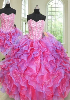 Perfect Three Piece Ball Gowns 15th Birthday Dress Multi-color Sweetheart Organza Sleeveless Floor Length Lace Up