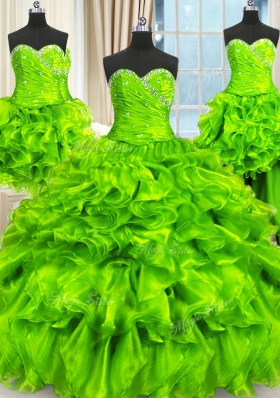 Four Piece Floor Length Lace Up Quinceanera Gown for Military Ball and Sweet 16 and Quinceanera with Beading and Ruffles and Ruching